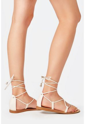 b790a577ae74 Earnesta Lace-Up Gladiator Sandal in Gold - Get great deals at JustFab