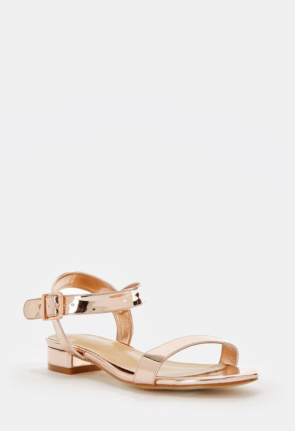 6a99f3592675 Aisha Low Block Heel Sandal in ROSE GOLD MIRRORED - Get great deals ...