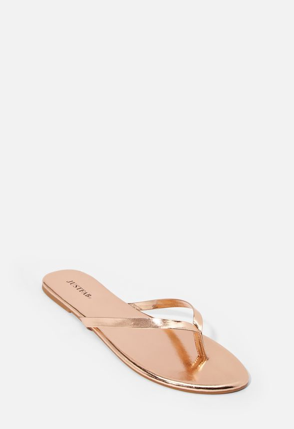 9a1470959cf8 Shanley Flip Flops in Rose Gold - Get great deals at JustFab