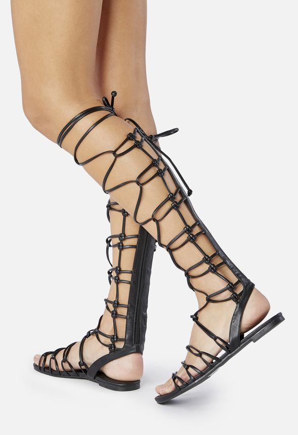 c3a318a457d5 Earnesta Lace-Up Gladiator Sandal in Black - Get great deals at JustFab