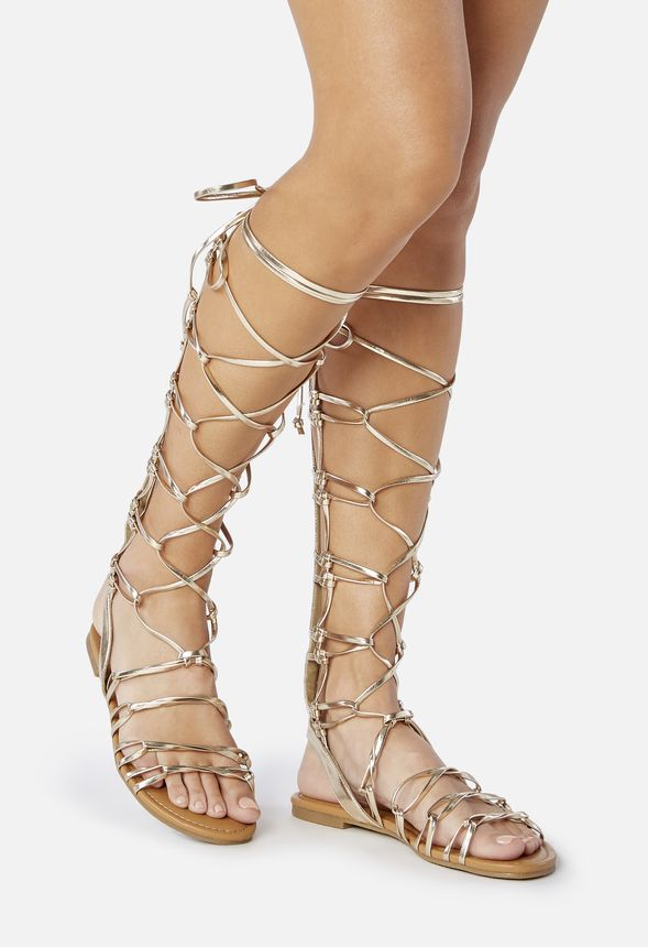 8814b168bf48 Earnesta Lace-Up Gladiator Sandal in Gold - Get great deals at JustFab