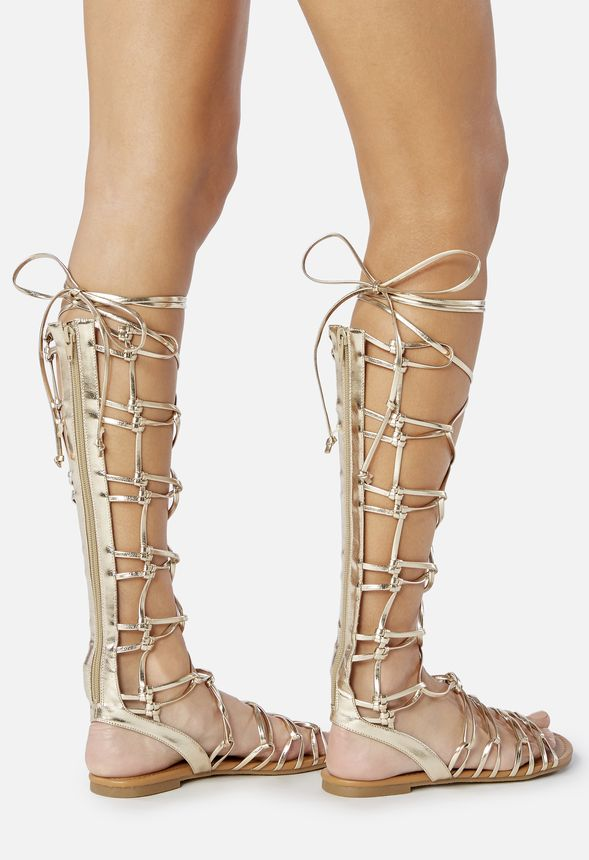 cdab29a9c8db Earnesta Lace-Up Gladiator Sandal in Gold - Get great deals at JustFab