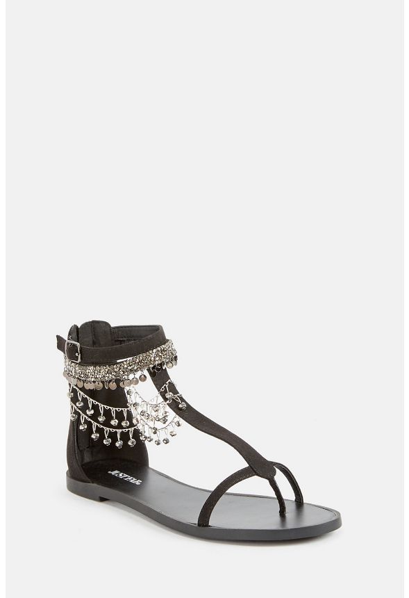 4211f4391 Whynna Jeweled Flat Sandal in Black - Get great deals at JustFab