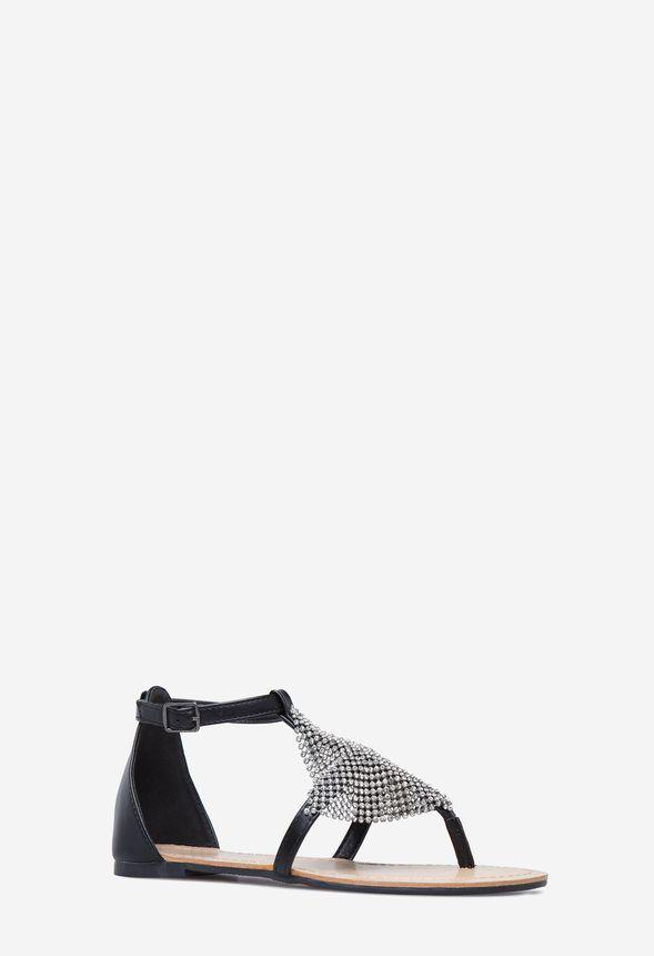 527fde4673ac Dadra Diamond Flat Sandal in Black - Get great deals at JustFab