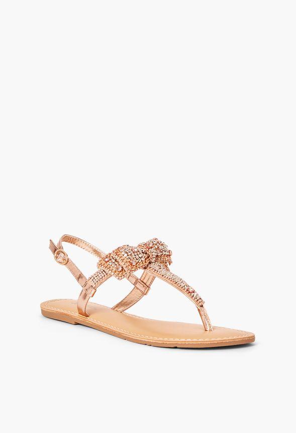 a112ebe93e6 Terena Embellished Bow Flat Sandal in Rosegold - Get great deals at ...