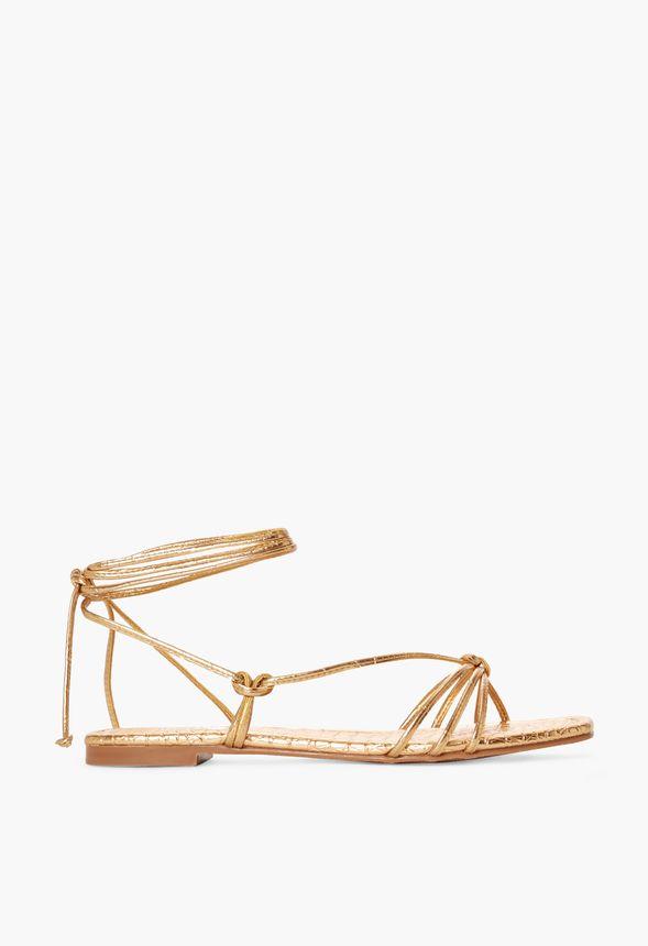 Aliz Lace-Up Flat Sandal in Gold - Get