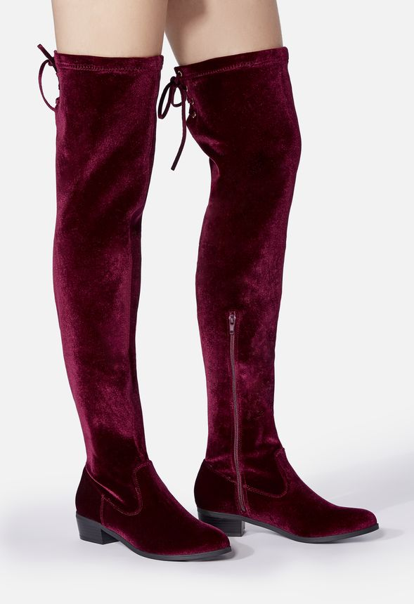 59a3fc15d008 Abbie Stretch Over-The-Knee Boot in BURGUNDY VELVET - Get great ...