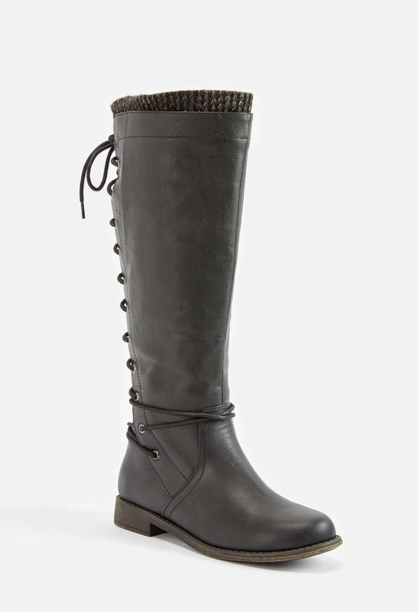 cf77cc05d814 Elettra Corset Boot in Black - Get great deals at JustFab