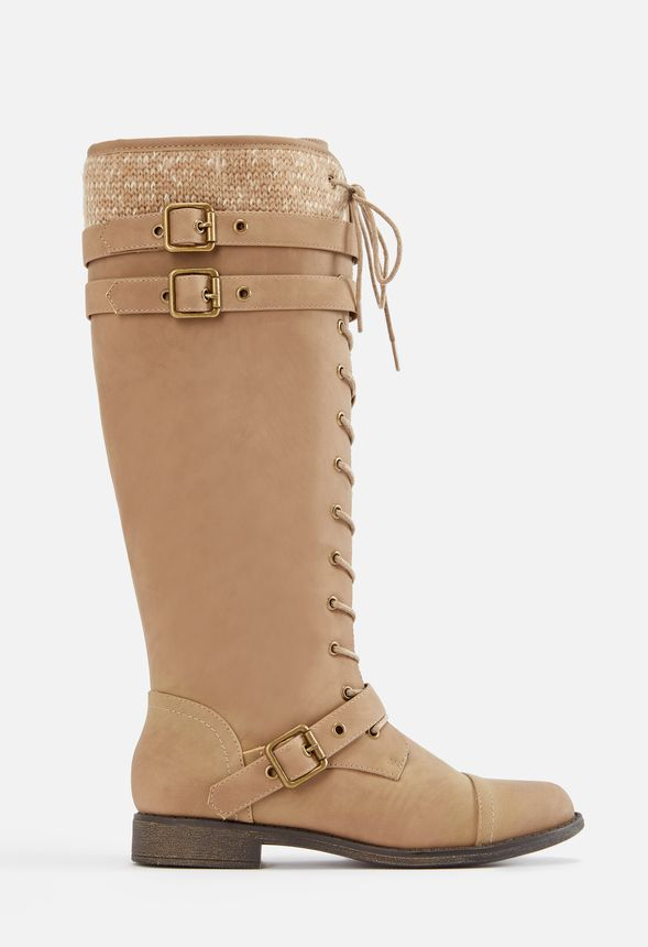 8e27a05f342 Delphinia Lace-Up Sweater Boot in Taupe - Get great deals at JustFab