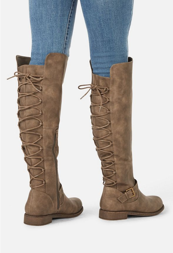 19e4aa6f124c1 Pricilla Corset Back Boot in Taupe - Get great deals at JustFab