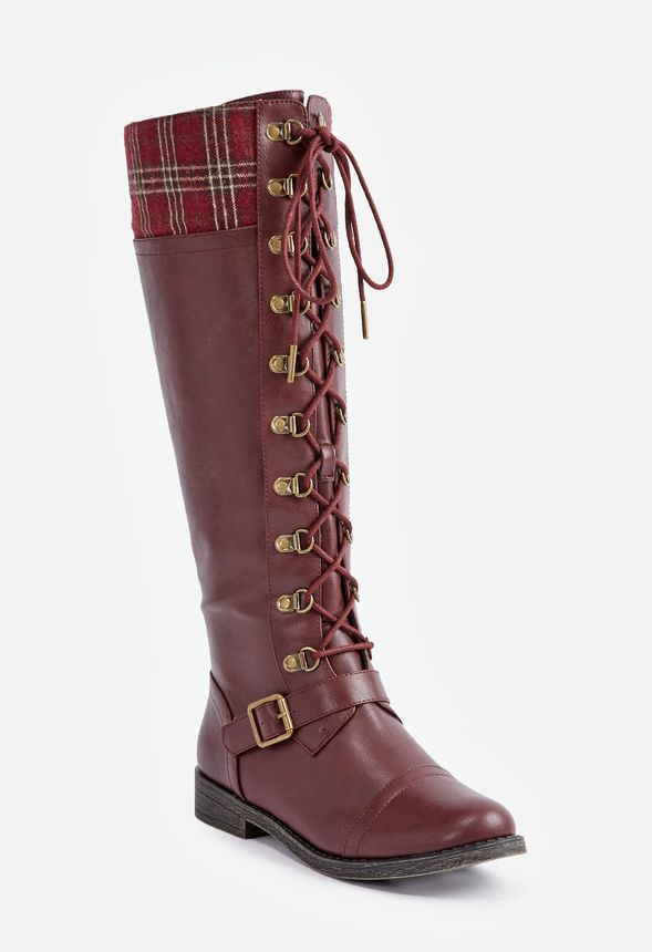 molly flat boot in burgundy get great deals at justfab. Black Bedroom Furniture Sets. Home Design Ideas