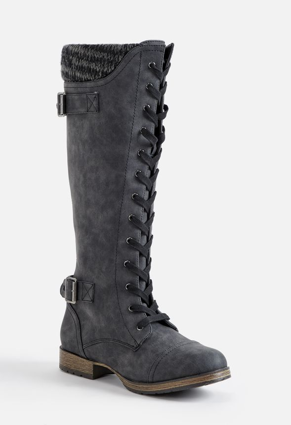 90f4695bfb96 Athena Flat Boot in Black - Get great deals at JustFab
