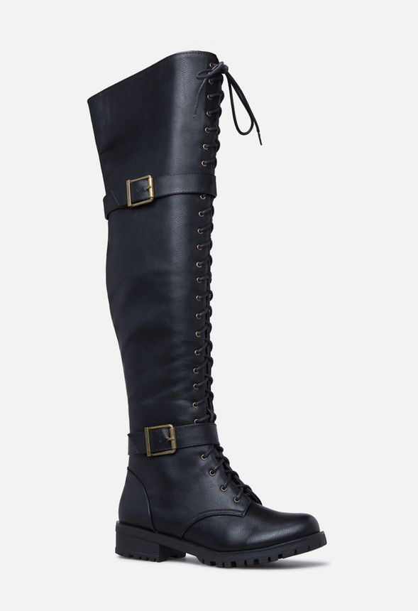 32ab6a48e080 Piper Thigh-High Combat Boot in Black Onyx - Get great deals at JustFab