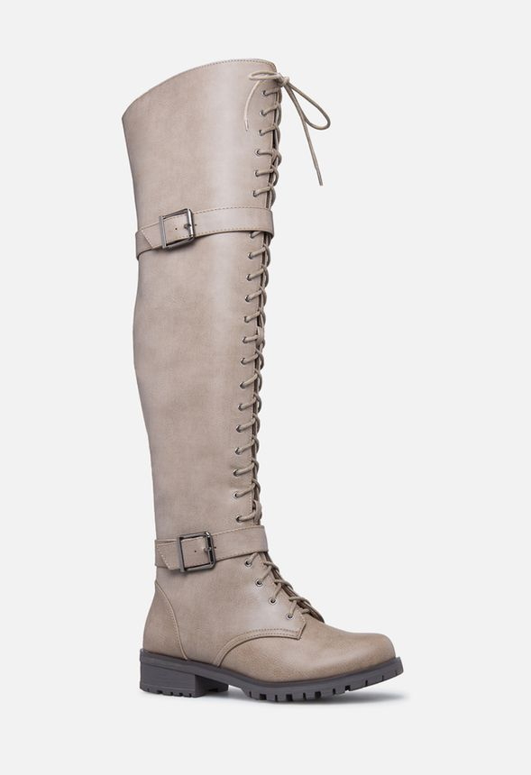 9652738e95a7 Piper Thigh-High Combat Boot in Taupe - Get great deals at JustFab