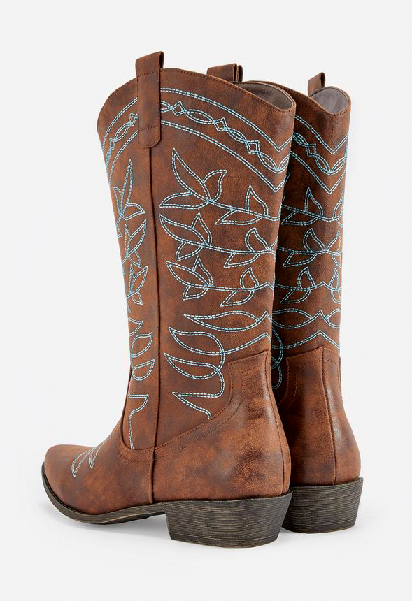 Jessie Embroidered Cowboy Boot in Cognac Get great deals