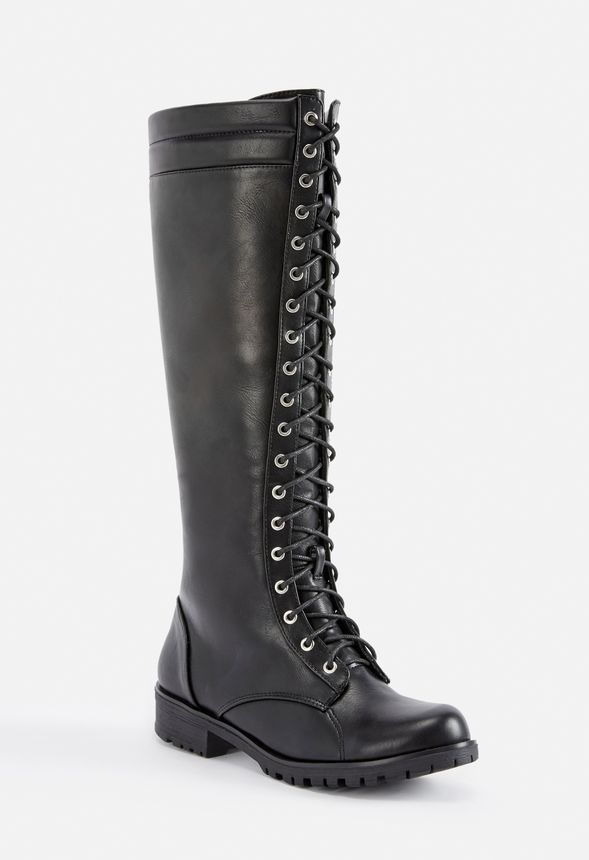 df838a3d81bea Cecily Lace-Up Tall Boot in Black - Get great deals at JustFab