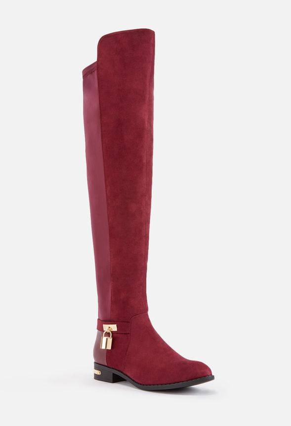c188229d049 Shaelynne Over The Knee Riding Boot in Burgundy - Get great deals at JustFab