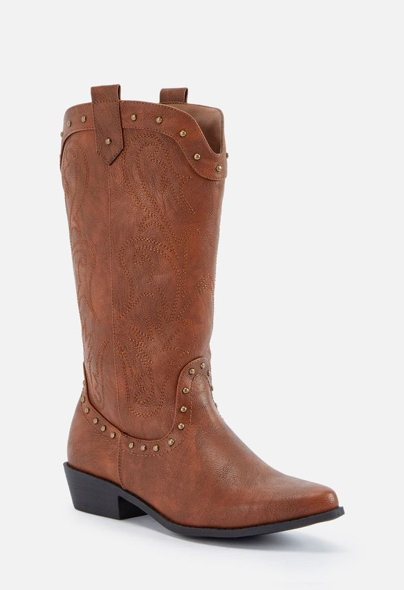 cefa1647903 Wildena Studded Cowboy Boot in Cognac - Get great deals at JustFab