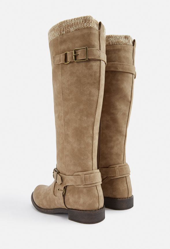 Side Zip *Choose* Details about  /JustFab Calf-High Suede Taupe Color Sweater Cuff Boot
