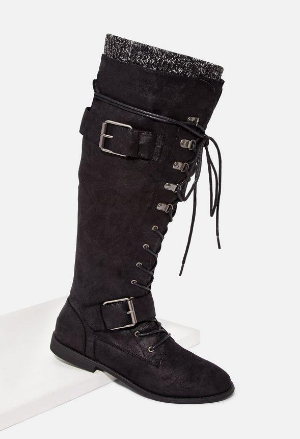 59adfec5129 Svana Lace-Up Tall Boot in Black - Get great deals at JustFab