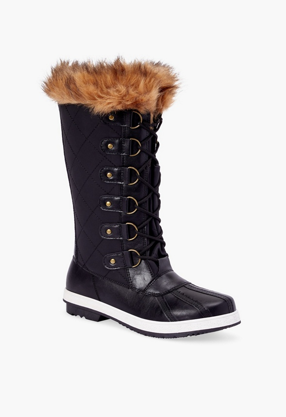 3b222805566 Marley Quilted Faux Fur Snow Boot in Black Tan - Get great deals at JustFab