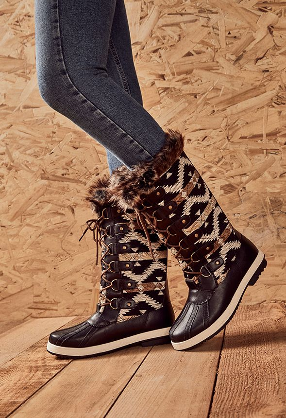 933ebf32a12 Marley Quilted Faux Fur Snow Boot in black taupe - Get great deals at  JustFab