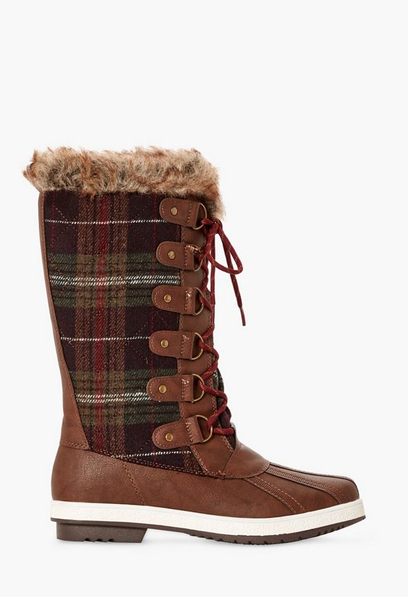 34fbcb225ff Marley Quilted Faux Fur Snow Boot in Brown Multi - Get great deals at  JustFab