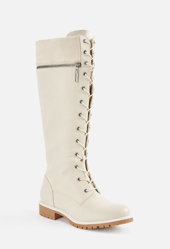 9d717f824e1 Cosima Lace-Up Tall Boot in White - Get great deals at JustFab
