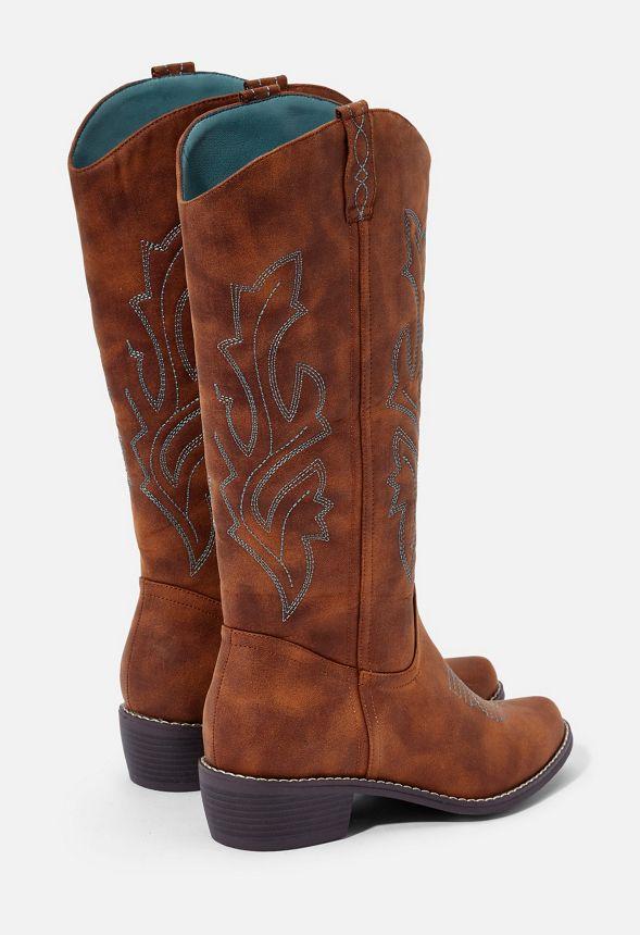 Dixie Cowboy Boot in Cognac Get great deals at JustFab