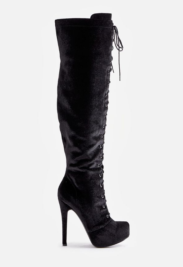 Reasonable Price WOMENS BLACK MID WEDGE HEEL KNEE HIGH BOOTS