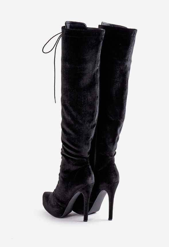 0dd89705d85f Dashiella Heeled Boot in BLACK VELVET - Get great deals at JustFab