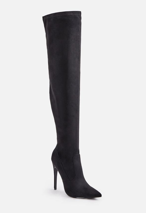 5f3fa63c0e7 Freya Stiletto Over-The-Knee Tall Boot in black faux sued - Get great deals  at JustFab