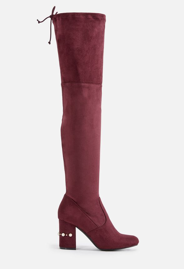 173f1f4fe0a Deedee Heeled Boot in Burgundy - Get great deals at JustFab