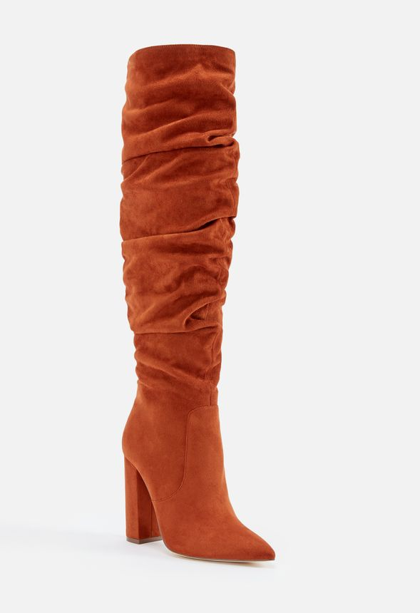 0bab52b1c53a Life Of The Party Slouchy Over The Knee Boot in Rust - Get great ...