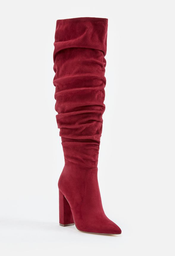 86a5712ec87 Life Of The Party Slouchy Over The Knee Boot in Burgundy - Get great ...