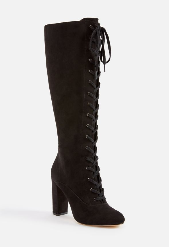 89f82a9063dc Ardenne Lace-Up Heeled Boot in Black - Get great deals at JustFab
