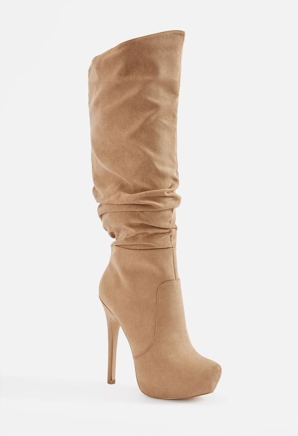 cb5599f3e38f00 Braun Stiletto Tall Boot in Taupe - Get great deals at JustFab