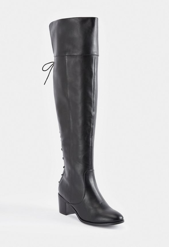 e598660c9aa Athena Lace-Back Tall Boot in Black - Get great deals at JustFab
