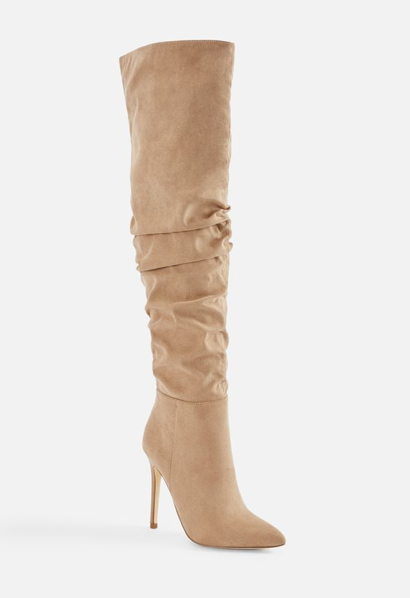 0c74c00dff2a Francis Slouchy Stiletto Boot in Taupe - Get great deals at JustFab