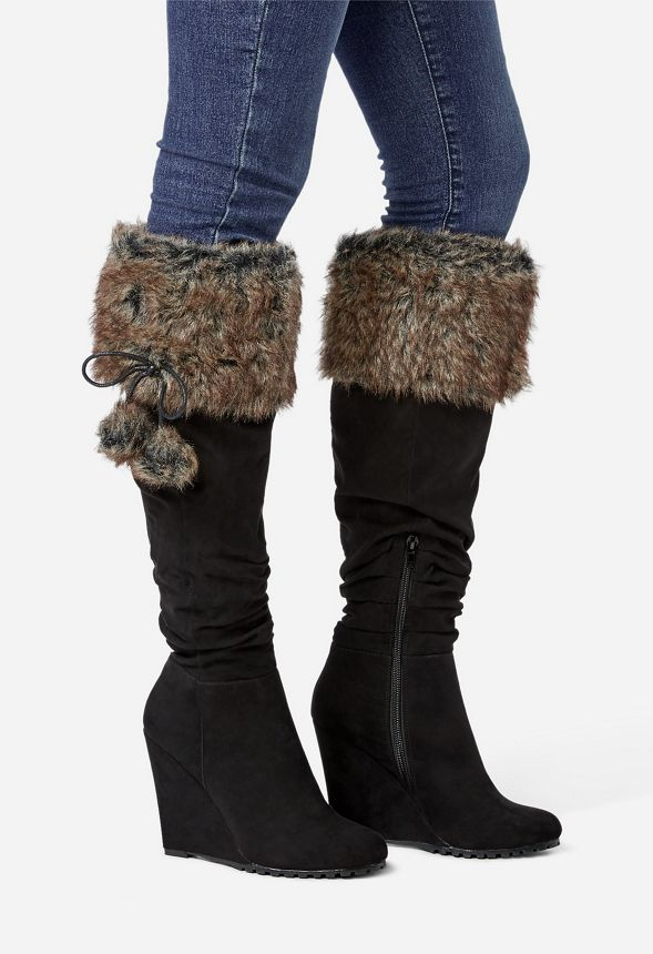 f8555d84ff1 Linda Faux Fur Wedge Boot in black faux sued - Get great deals at ...