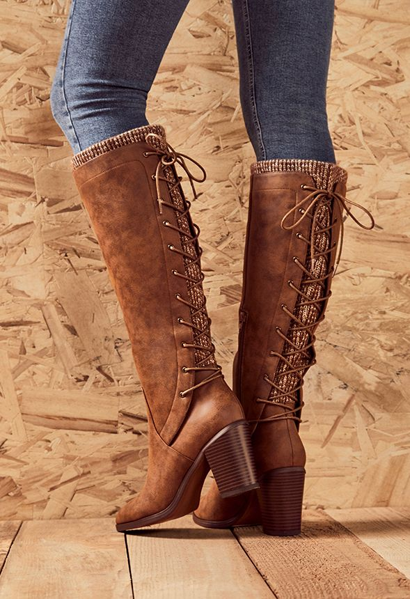 Lace Me Up Back Lace-Up Boot in Cognac