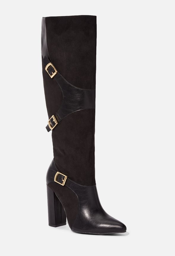 Yelda Buckle Tall Boot in Black - Get