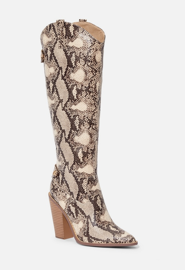 Open All Night Tall Western Heeled Boot by Justfab