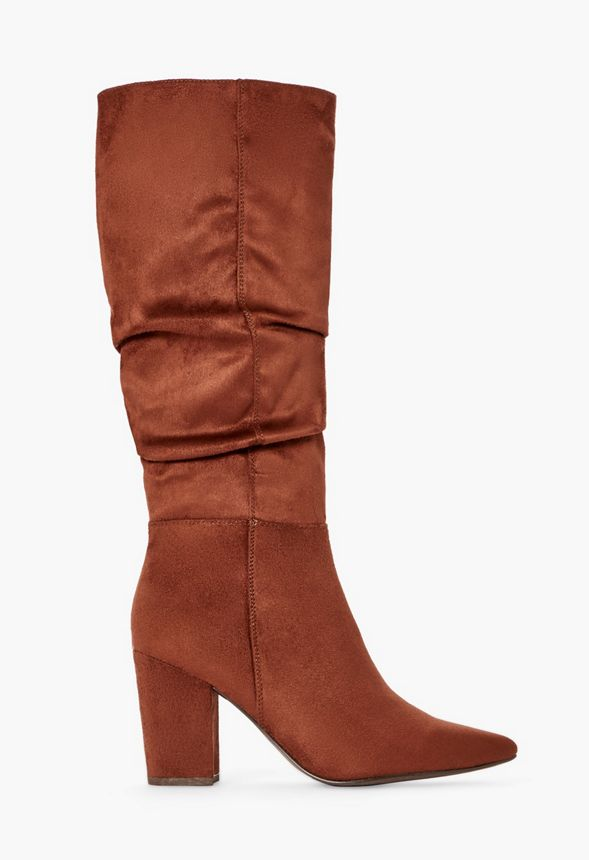 Hudson Slouchy Heeled Boot in WHISKEY