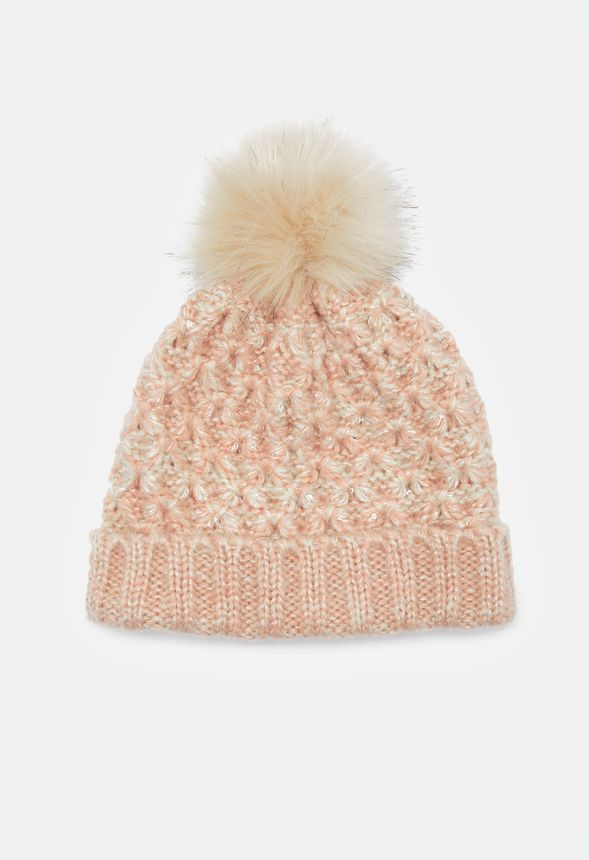 fd277920875 Sparkle Knit Beanie Accessories in BLUSH IVORY - Get great deals at JustFab