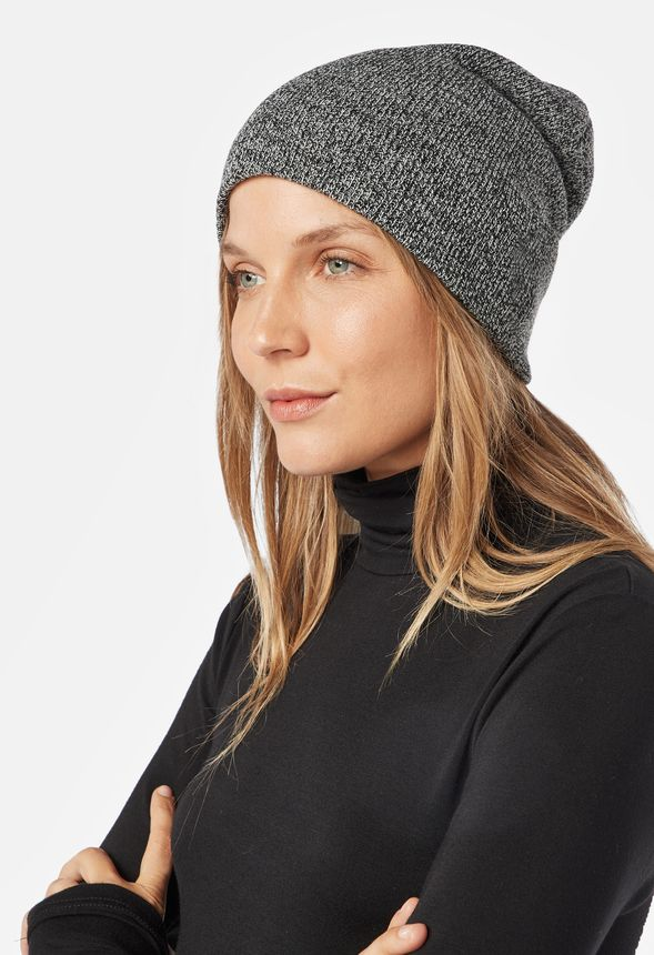 Foldover Knit Beanie Accessories in grey marled - Get great deals at JustFab a110cde9d33