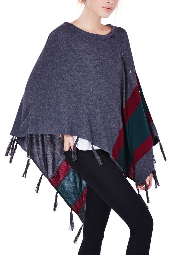 Fringed Poncho Sweater in GRAY MULTI - Get great deals at JustFab
