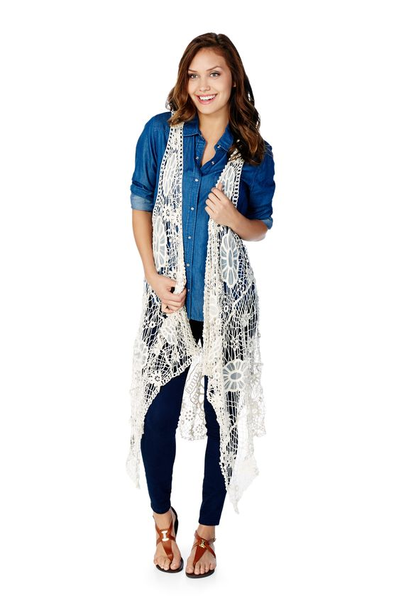 Long Crochet Vest In Ivory Get Great Deals At Justfab