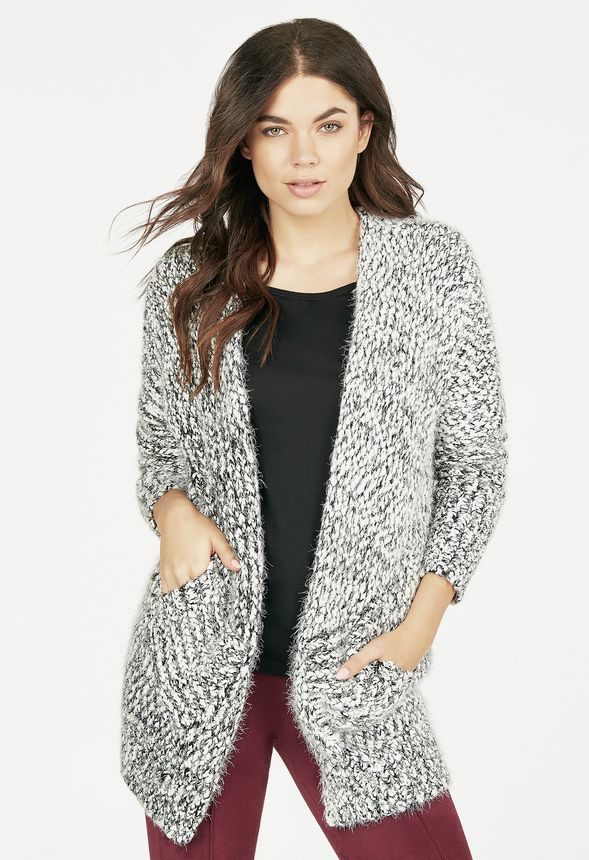 f3fc7515e3f Fuzzy Cardigan in BLACK  WHITE - Get great deals at JustFab