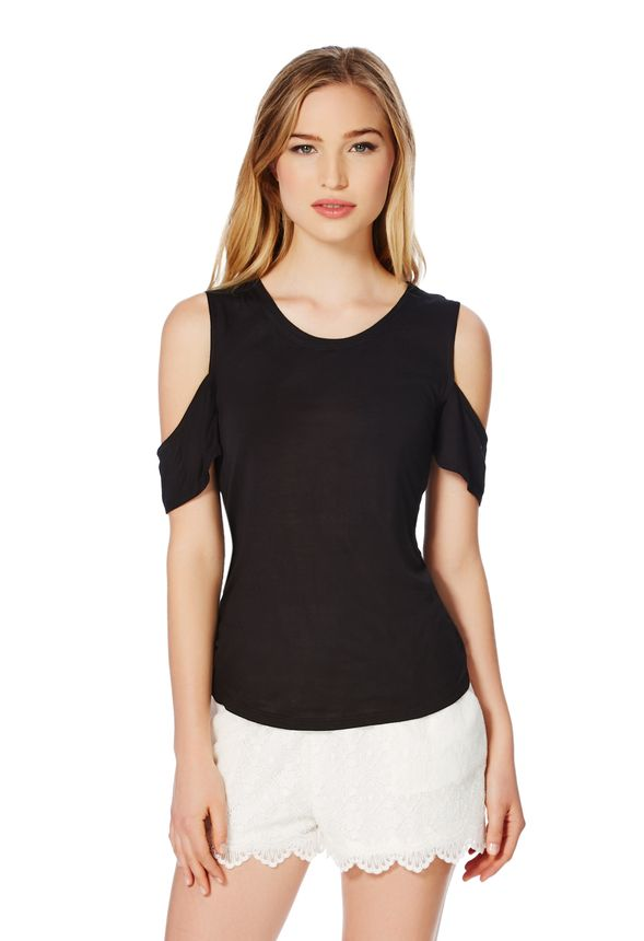 095e1f027c4 Cut Out Shoulder Tee in Black - Get great deals at JustFab